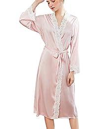 Vestido Pijama Mujer Kimono Manga Larga Bata de Satén Lencería Kimono del Cordón Satén ...