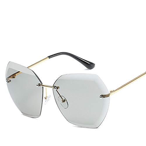 DD/LZY Brillen, Sonnenbrillen, Sonnenbrillen, Sonnenbrillen, Outdoor-Sportarten, Freizeit-Sonnenbrillen, Modische Rahmenlose, Sechseckige Kristallgläser, Damenbrillen, A11