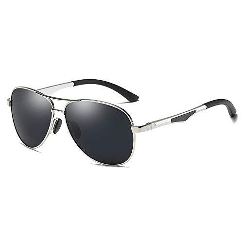 Gläser Polarisierte Sonnenbrille Teardrop Herrensonnenbrille Klassisches Design UV Cut Cross & Brillenetui (Color : Silber, Size : Kostenlos)