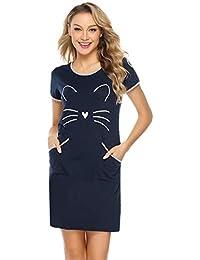 iClosam Camisón Mujer Gato Verano Pijama Casual Algodón Ropa de Dormir ...