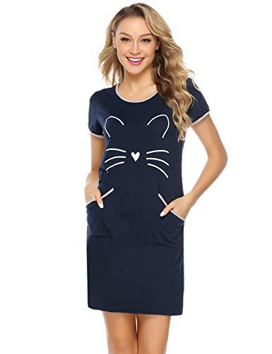 c0cf6389b5 IClosam Camisón Mujer Gato Verano Pijama Casual Algodón