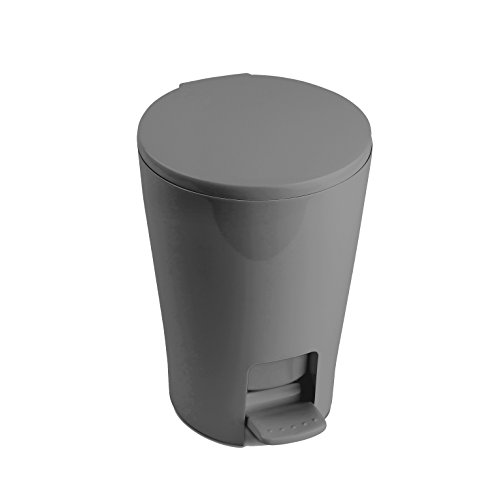 TATAY4434906 - Diábolo Cubo de baño con apertura a pedal, 5 litros de capacidad, PP, Gris, 19.00x21.00x28.20...