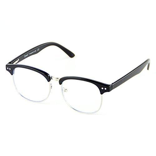 Cyxus Anti Blaues Licht Brille Computerbrille [Halb Randlos] Anti Ermüdung Der Augen (Klar Linse) Schwarzes Brillengestell Brillen Ohne Stärke