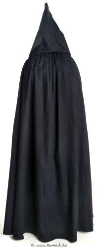 HEMAD Mittelalter Umhang mit Kapuze Wollfilz schwarz, braun, beige, rot, blau (One Size, schwarz) - 6
