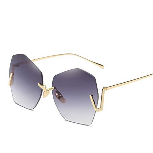 SYQA Retro Sonnenbrille-Frauen-randlose Polygon-Schatten-Damen, welche die Sonnenbrille weiblich Fahren,C6