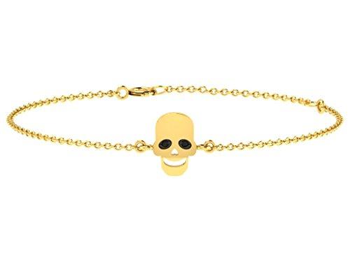 Or Jaune 9 ct Bracelet Diamant en forme de crâne, 0.01 Ct Diamant, GH-SI, 1.83 grammes.