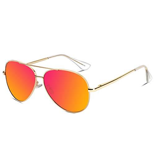 VVA Sonnenbrille Herren Pilotenbrille Polarisiert Pilotenbrille Polarisierte Sonnenbrille Herren Pilot Unisex UV400 Schutz durch V101 (Orange/Gold, 2.44)