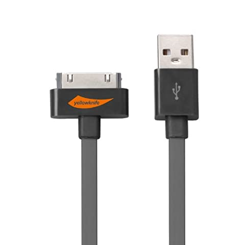[Apple MFI Certified] Yellowknife 3.2Feet(1M) 30 Pin Charging and USB Sync Noodle Cable for iPhone 4s iPhone 4 iPhone 3gs,iPad iPad 2 iPad 3,iPod Touch 4th,iPod Nano 6th(Gray)