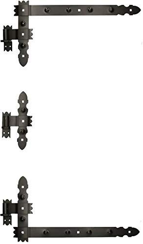 KOTARBAU Winkelband 600 x 300mm 3 tlg. Kloben Mittelband Kreuzband Fensterladenband Winkelscharnier Türband Torband Pulverbeschichtet Fensterband
