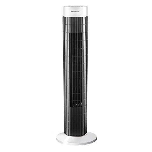 Aigostar Ben 33JTS - Ventilateur colonne 3 vitesses et large oscillation. Minuteur programmable avec arrêt automatique. 45W, 76cm, noir et blanc. Long câble.