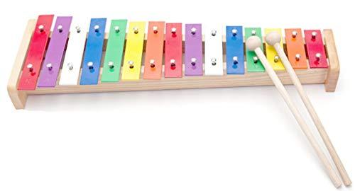 WDYJMALL Xylophon Glockenspiel aus Holz, 15 Töne, für Kinder