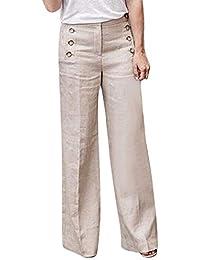 9405fe5141d8 Shujin Femme Pantalon Jambe Large en Coton Lin Couleur Unie Bouton Taille  Haute Décontracté Pants Lache