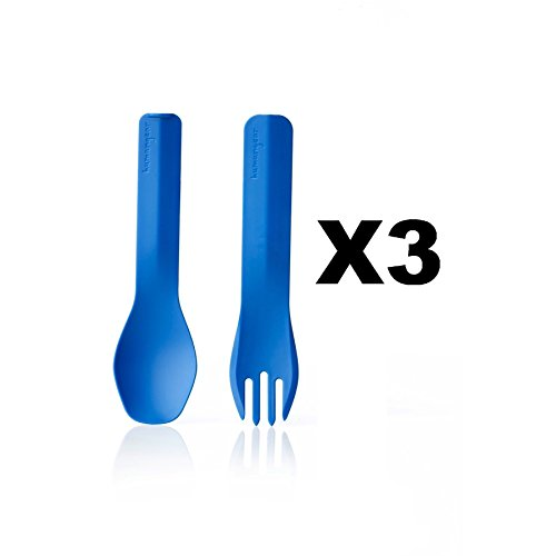 humangear-gobites-duo-utensil-fork-and-spoon-bpa-free-camping-tool-blue-3-pack