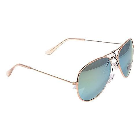 Pilotenbrille Sonnenbrille Fliegerbrille Pornobrille mit Federscharnier verspiegelt (Grün Gläser/Rose-Gold Rahmen (Gold Grün Sonnenbrille)