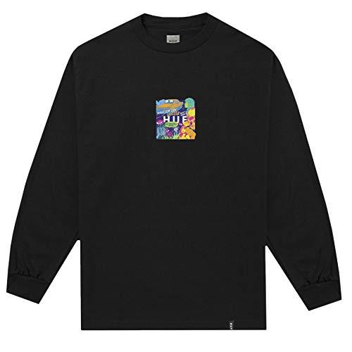 HUF Mens Comics Box Logo Long Sleeve T-Shirt, Black, M