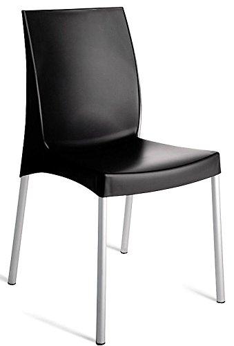 Grandsoleil Upon Boulevard Standard Chaise empilable avec Pieds en Aluminium, Polypropylène, Anthracite, 52 x 44 x 85 cm