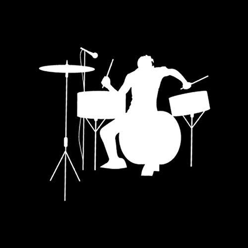 Auto-Aufkleber-Aufkleber Schlagzeug Schlagzeuger Silhouette Rock Band Musik Auto Aufkleber Spaß Sportlich Auto Aufkleber Aufkleber 19 * 17 CM 2 Stück - Rock Band Silhouette