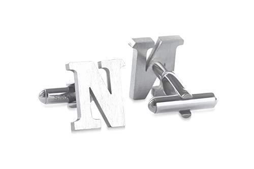 SMARTEON® Manschettenknöpfe für Herren | Premium Buchstaben A-Z | Silber & Schwarz aus hochwertigem Edelstahl in mattem Design | Elegante Cufflinks in einem edlen Geschenk-Set (N - silber)