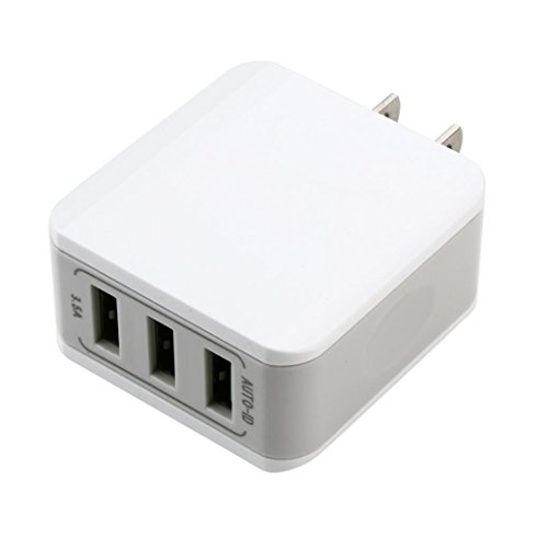 kingko 3-Port 40W AC USB Ladegerät Wandladegerät für Handys Smartphone Tablets Bluetooth Geräte Mp3. usw. Weiss (Weiß) Mp3-geräte