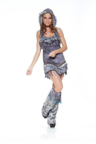 Kostüme Sexy Pocahontas (Fell-Kostüm Sexy Pocahontas Indianerin Eskimo Damen Squaw,)