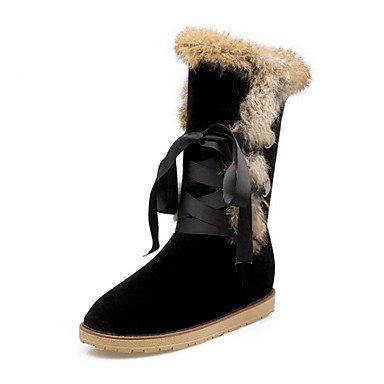 Rtry Femmes Chaussures Daim Cuir Automne Hiver Confort Nouveauté Bottes De Neige Bottes De Mode Talons Plats Bout Rond Bottes Mi-mollet Plume Lacets Pour Us7.5 / Eu38 / Uk5.5 / Cn38