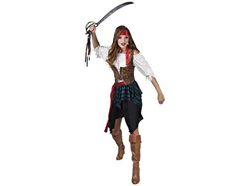 Déguisement de pirate pour femme Comporte une jupe, une ceinture, un bustier, un gilet et un bandeau Ce costume est idéal pour incarner une véritable pirate Lors de vos soirées déguisées, carnaval ou soirées à theme, choisir:83534 tailles 36-38