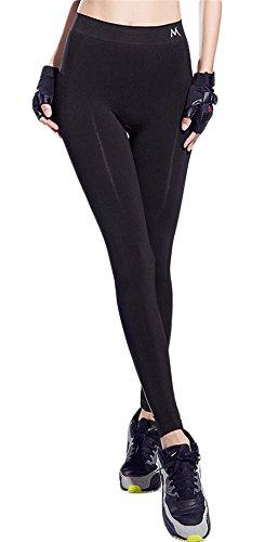 GoodNight Pantaloni Yoga veloce a secco ad alta vita di colore puro Nero