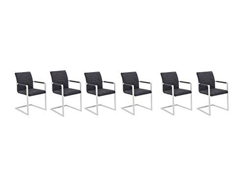 Woodkings 6X Schwingstuhl Picton, Kunstleder grau, Metall weiß, Freischwinger mit Armlehne, Esszimmerstuhl, modern, Designstuhl, Metallstuhl, Küchenstuhl, 6er Set