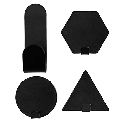 Brilcon 4 geometrisches Eisen selbstklebende Wandaufkleber Haken Halter Schwarz