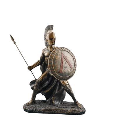 PIANETA REGALO Planète Cadeau Statue Soldat Spartano Leonida avec Lance et Bouclier 25 cm résine recouverte Finement travaillée
