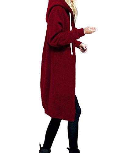 StyleDome Damen Hoodie Kapuzenpullover Pullover Jacke Sweatjacke warm gefüttert Strickjacke Zip Jacket Weinrot 48