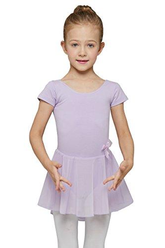 Mdnmd Mädchen Ballettkleid mit Rock und kurze Ärmel (Höhe 150cm / Jahre 8-10, Violett)