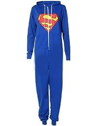 Unisexe Hommes Superman de l'impression Une Seule pièce non onesie zip capuche Homme Sweat à capuche -Bleu- 40-42