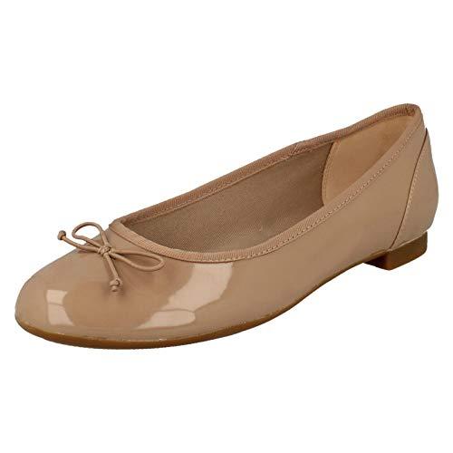 Clarks Couture Blüte Damenschuhe Ballerina 7 D (M) UK/ 41 EU Nude Patent -