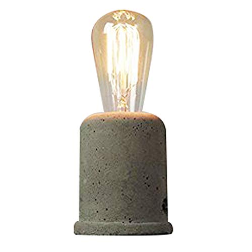 Injuicy Rétro Edison Vintage Industriel Socle en Bois Métal Lampes de Table Antique Fer Forgé Conduite D'eau Steampunk Lampe de Bureau Lampe à Poser pour Chevet Café Salon Chambre Lampe de Nuit (#B) (Ciment)