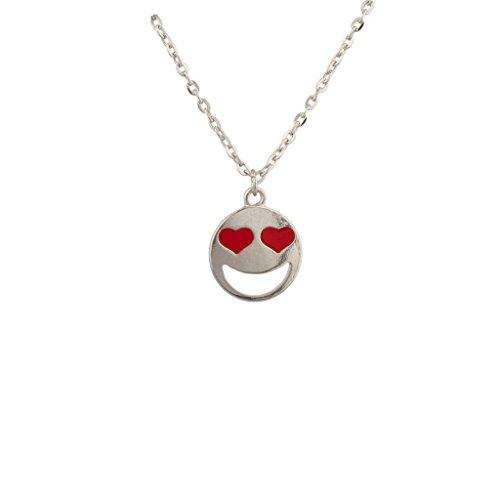 LUX Zubehör Emoji-Herz Augen Smile Smiley, Anhänger Halskette