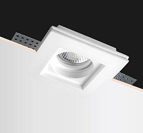 Kingled - Support Haute Qualité pour Spot Led en Résine de Craie carré mince Encastrable en Plâtre et Pitturable pour Projecteur Led GU10 Douille GU10 inclus Dimensions 100 * 100 * 30mm Modèle 1495