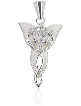 Schmuckanhänger von Herr der Ringe, Arwens Abendstern, 925 Sterling Silber, mit hochwertigem Kristall