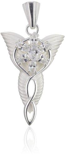 Anhänger Abendstern, für echte Fans der Herr der Ringe- Trilogie, Arwens Anhänger als Symbol der unsterblichen Liebe aus 925er Silber, mit sieben hochwertigen, als Blüte gefassten Zirkonia-Kristallen