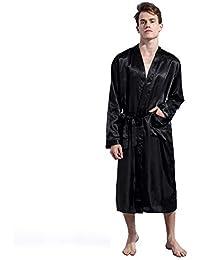 Albornoz De Seda Con Cuello En V Para Hombre Kimono Largo Batas de Dormir Pijama Ligeros