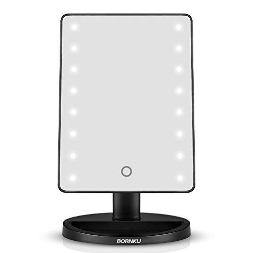 Hangsun specchio per trucco b90 specchio illuminato faccia con luce led con 180 gradi rotazione per cosmetici