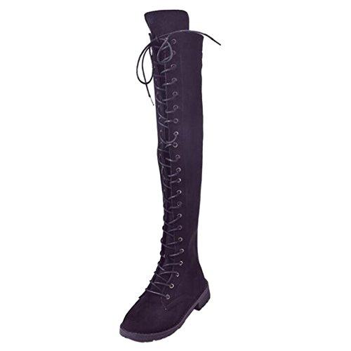 Deylaying Damen Damen Knie Oberschenkel High Low Flache Ferse Overknee Bandage Stiefel Schwarz Schuhe (Größe EU 42) (Über Die Knie-reißverschluss-boot)