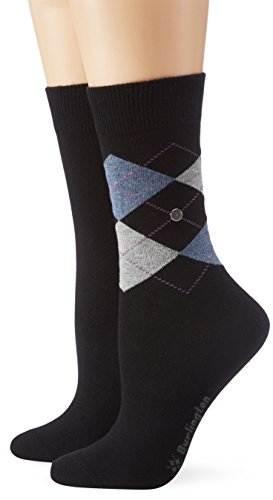 Burlington Damen Socken Everyday Argyle-Uni Mix 2er Pack, Schwarz (black 3000) 36-41