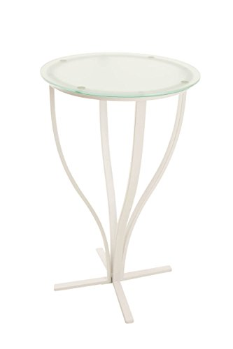 CLP Table de Bar Ronde ROSARIO, Table de Bar avec Piétement en métal blanc, Table de Bar en Verre, Table de Bar avec plaque ronde, Table de Gastronomie, Table de bistro, diamètre de la plaque Ø 60 cm, hauteur 109 cm blanc mat, verre opale