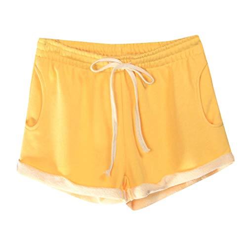 UFACE Damen Locker Elastischem Taillenband Schleife Tasche Hoch Taille Sommer Strand Shorts Khaki XS
