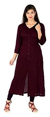 Vaidehi Creation Women Long Sleeve V-neck Full Stitch Long Dress (Color: Maroon)