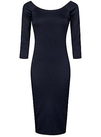 oodji Ultra Women's Skinny Boat Neck Dress, Blue, UK 14 / EU 44 / XL