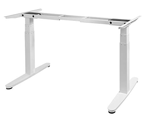 Exeta ergoSMART Elektrisch höhenverstellbarer Schreibtisch -System TÜV Rheinland Zertifiziert- mit 2 Motoren, 3-Fach-Teleskop, Memory-Funkt. und Softstart/-stopp, höhenverstellbares Tischgestell weiß