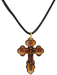 Amuleto Original Belén de regalos de madera de olivo Eastern collar con colgante en forma de cruz colgante de Cuerdas
