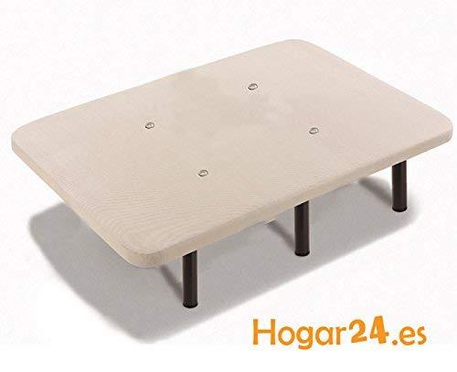 HOGAR 24 Base Tapizada con Tejido 3D Y Válvulas De Transpiración + 6 Metal, Madera_contrachapada, 135x190 cm-Patas 32 cm